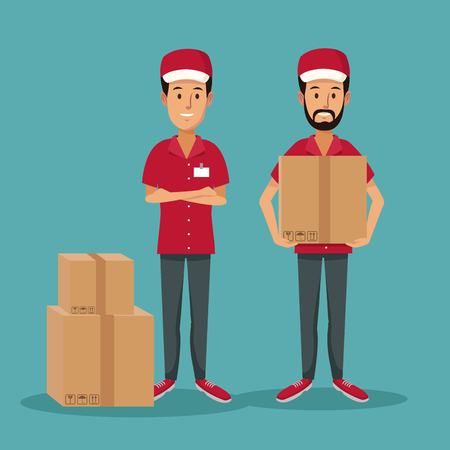 color background with men worker with packages fast delivery vector illustration