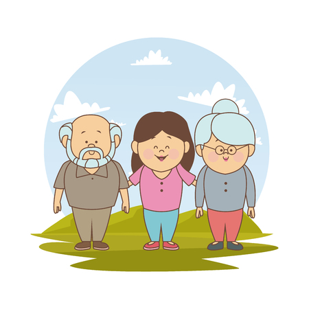 white background with color silhouette landscape with grandparents and young girl vector illustration