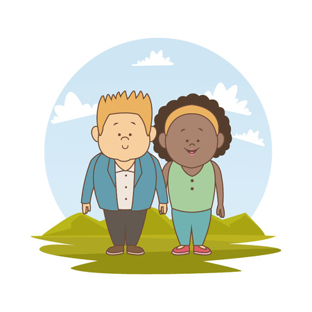 white background with color silhouette landscape with brunette woman and blonded man couple vector illustration