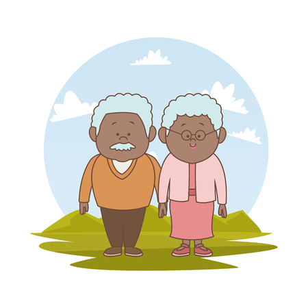 white background with color silhouette landscape with brunette elderly couple vector illustration