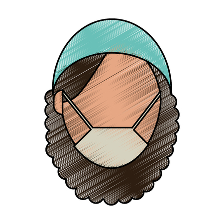 Medical professional face doodle  vector illustration design graphic