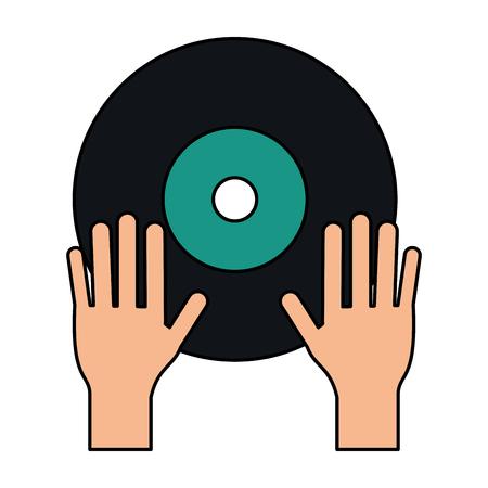 Turntable music hand flat vector illustration design graphic Illustration