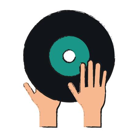 Turntable music hand draw  vector illustration design graphic