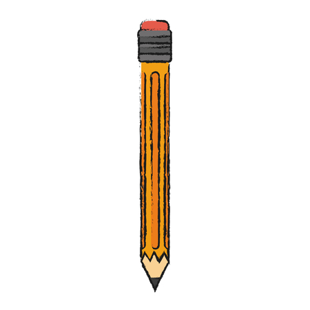 Colorful pencil doodle over white background vector illustration