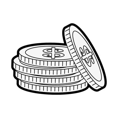 Flat line uncolored coins over white background vector illustration Illustration