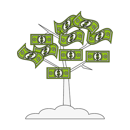 paying: Flat line money tree with hint of color over white background