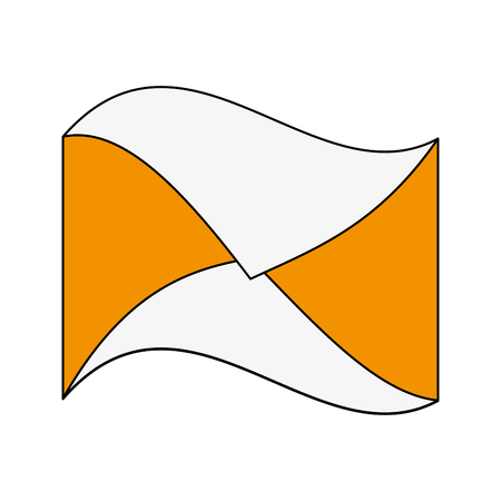 hint: Flat line envelope with hint of color over white background Illustration