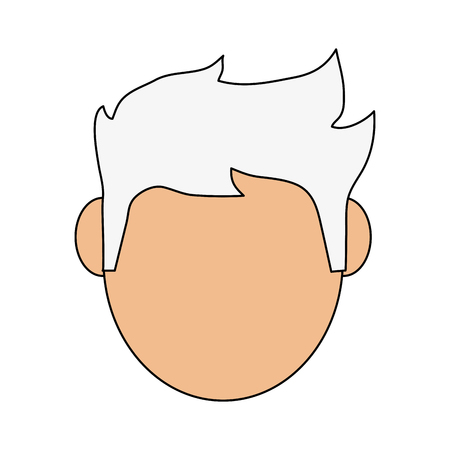 Flat line man head with hint of color over white background Illustration