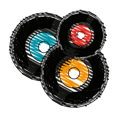 Colorful vinyl doodle over white background vector illustration Illustration