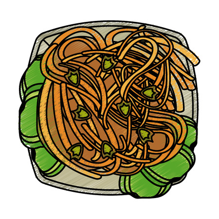 Colorful spaghetti dish doodle over white background vector illustration
