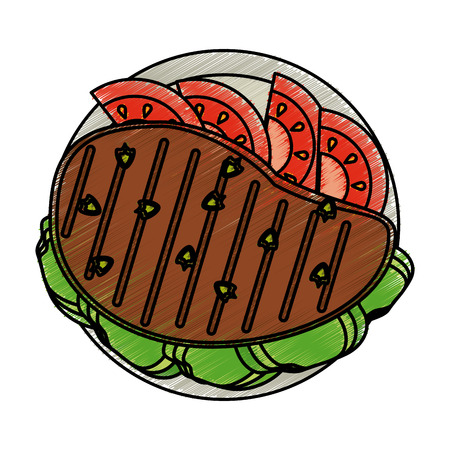 Colorful grilled meat and tomato slices doodle over white background vector illustration