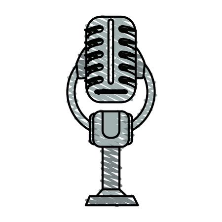voices: Colorful microphone doodle over white background vector illustration Illustration