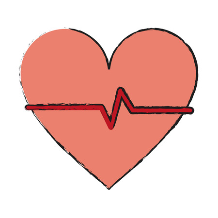 systole: Colorful heart and ecg doodle over white background vector illustration