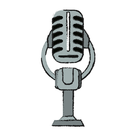 Colorful microphone doodle over white background vector illustration Illustration