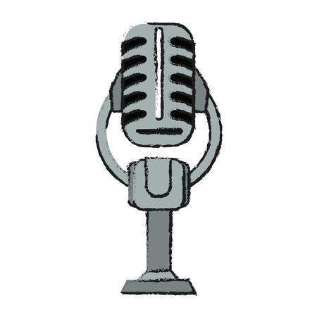 Colorful microphone doodle over white background vector illustration Illustration