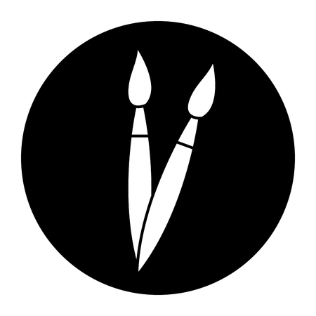 artistic paint brush tool object handle element vector illustration