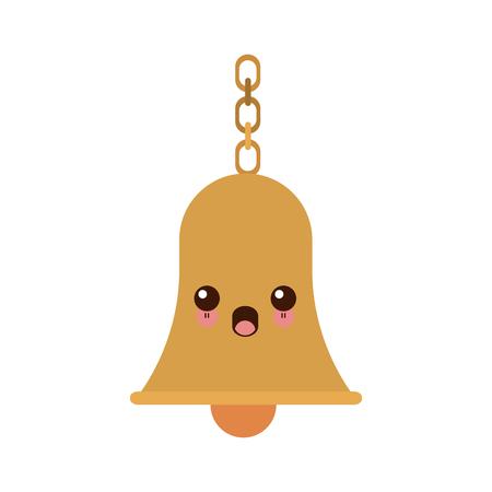 bell ringer: school bells chain hang alarm icon vector illustration Illustration