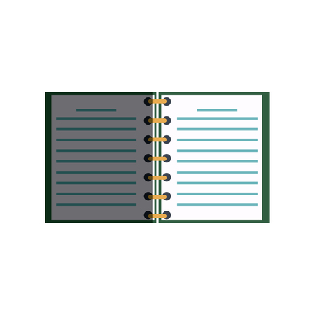 open spiral notebook pages copyspace study vector illustration