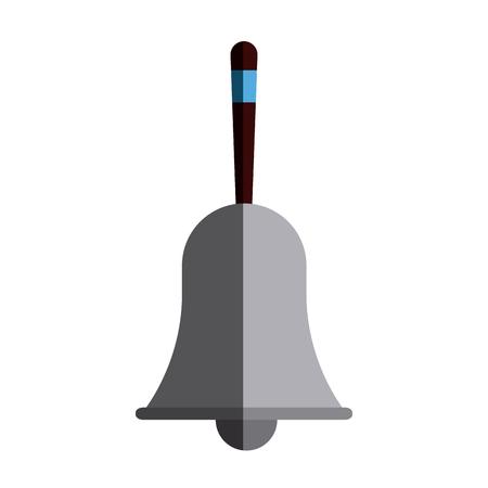 recess: Retro school bell handle clapper classic vector illustration