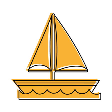 ship anchor: sailboat on water icon image vector illustration design