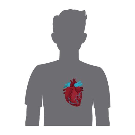 heart on the silhouette of a man vector illustration Illustration