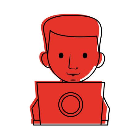 man using computer icon image vector illustration design