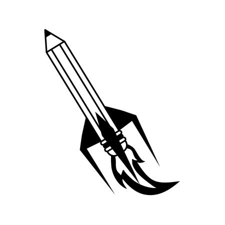 secretarial: pencil with eraser rocket  icon image vector illustration design Illustration