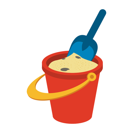 bucket with sand and shovel icon image vector illustration design Illustration
