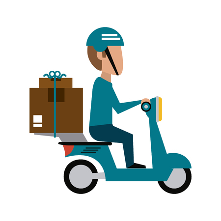 mailman with scooter with package icon image vector illustration design
