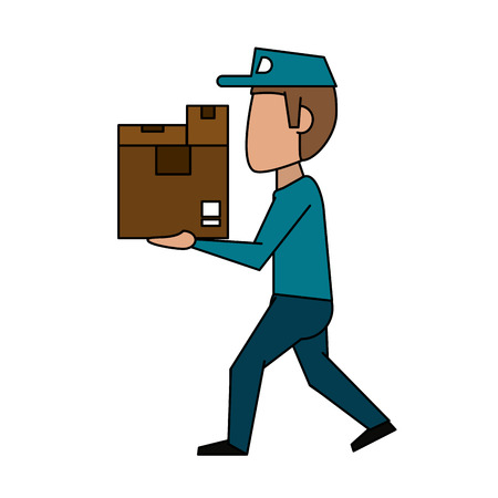 qualification: mailman with package icon image vector illustration design