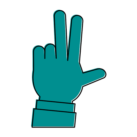 hands with three fingers up icon image vector illustration design  blue color Illustration
