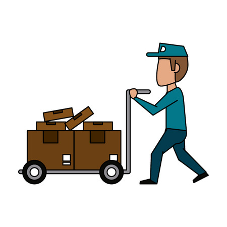email icon: mailman with package icon image vector illustration design