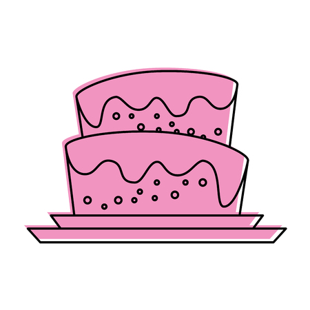 cake with icing icon image vector illustration design
