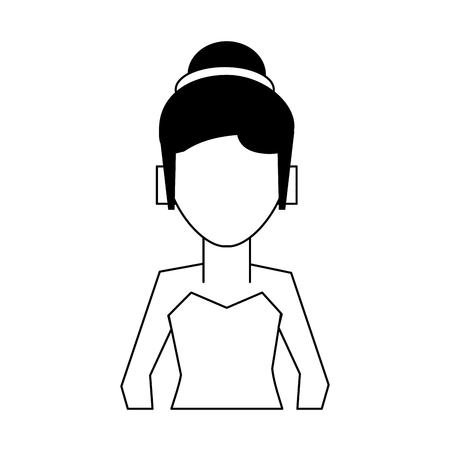 woman with hair updo wearing strapless top avatar icon image vector illustration design Illustration