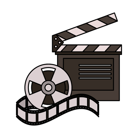 clapperboard film icon image vector illustration design Illustration