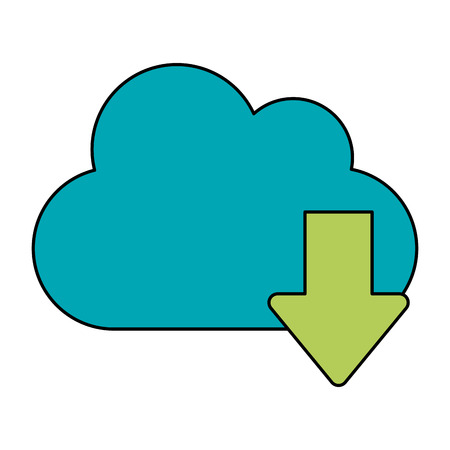 cloud with download arrow icon image vector illustration design Illustration