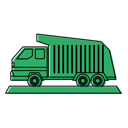 moving truck: dump truck icon image vector illustration design  green color