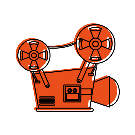 필름 프로젝터 아이콘 이미지 벡터 일러스트 디자인 오렌지 색상 일러스트