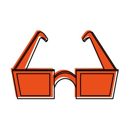 eyewear fashion: square frame sunglasses icon image vector illustration design  orange color Illustration