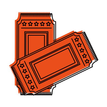 event entrance ticket with stars icon image vector illustration design  orange color Illustration