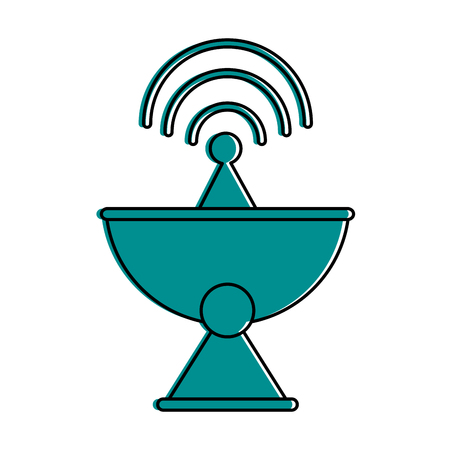 satellite dish telecommunication icon image vector illustration design  blue color  イラスト・ベクター素材