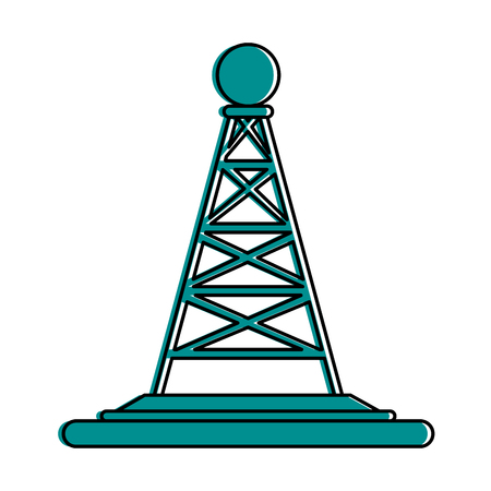 tv tower: antenna telecommunication icon image vector illustration design  blue color