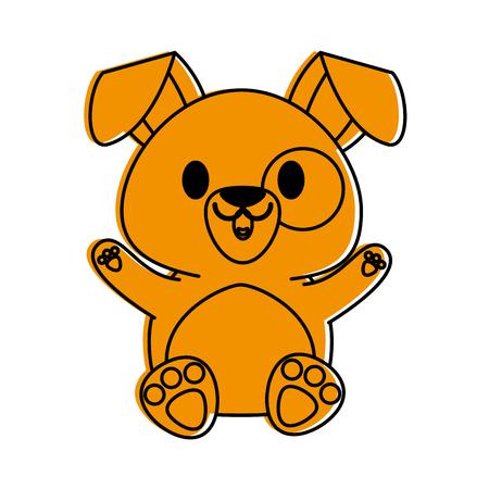 dog or puppy cute animal cartoon icon image vector illustration design  orange color Illustration
