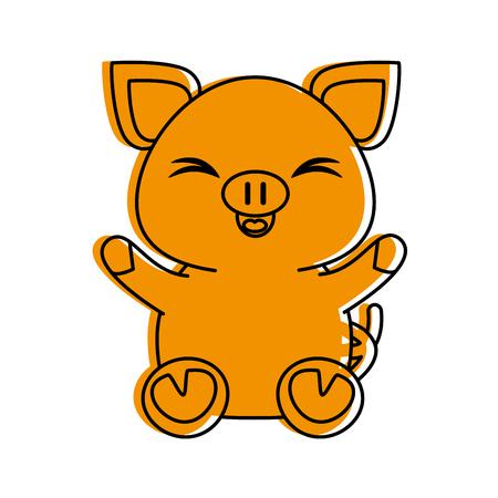 pig cute animal cartoon icon image vector illustration design  orange color