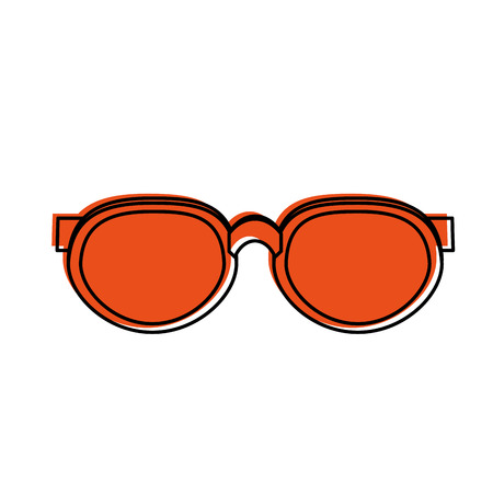 glass reflection: round frame sunglasses icon image vector illustration design  orange color Illustration