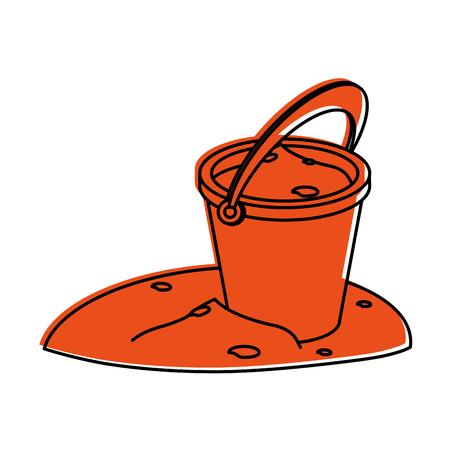 bucket with sand icon image vector illustration design  orange color