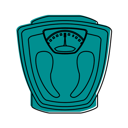 weight scale icon image vector illustration design  blue color Illustration
