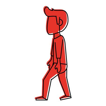 man walking avatar icon image vector illustration design  red color