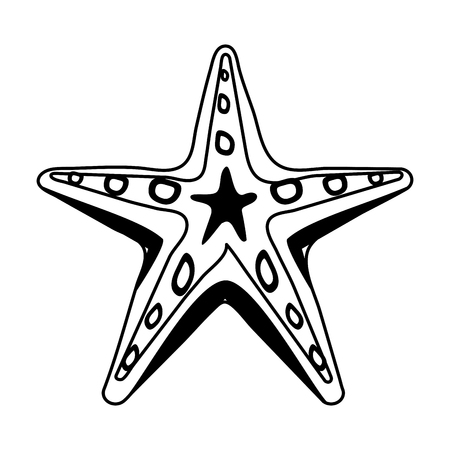 starfish or sea star icon image vector illustration design  black and white Illustration