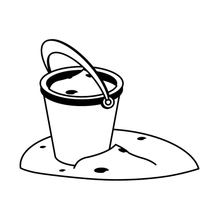 bucket with sand icon image vector illustration design  black and white